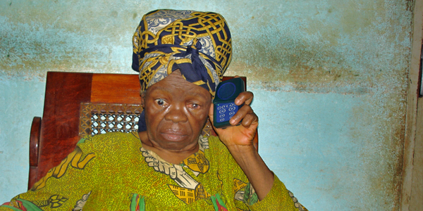 blind woman with audio player