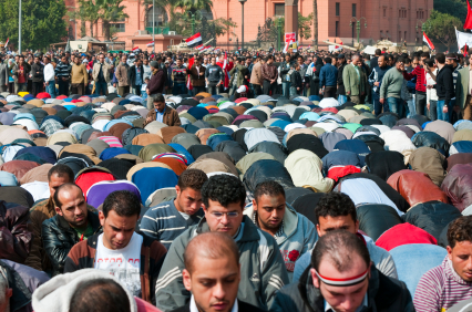 Crowd of Male Muslim Whorshippers