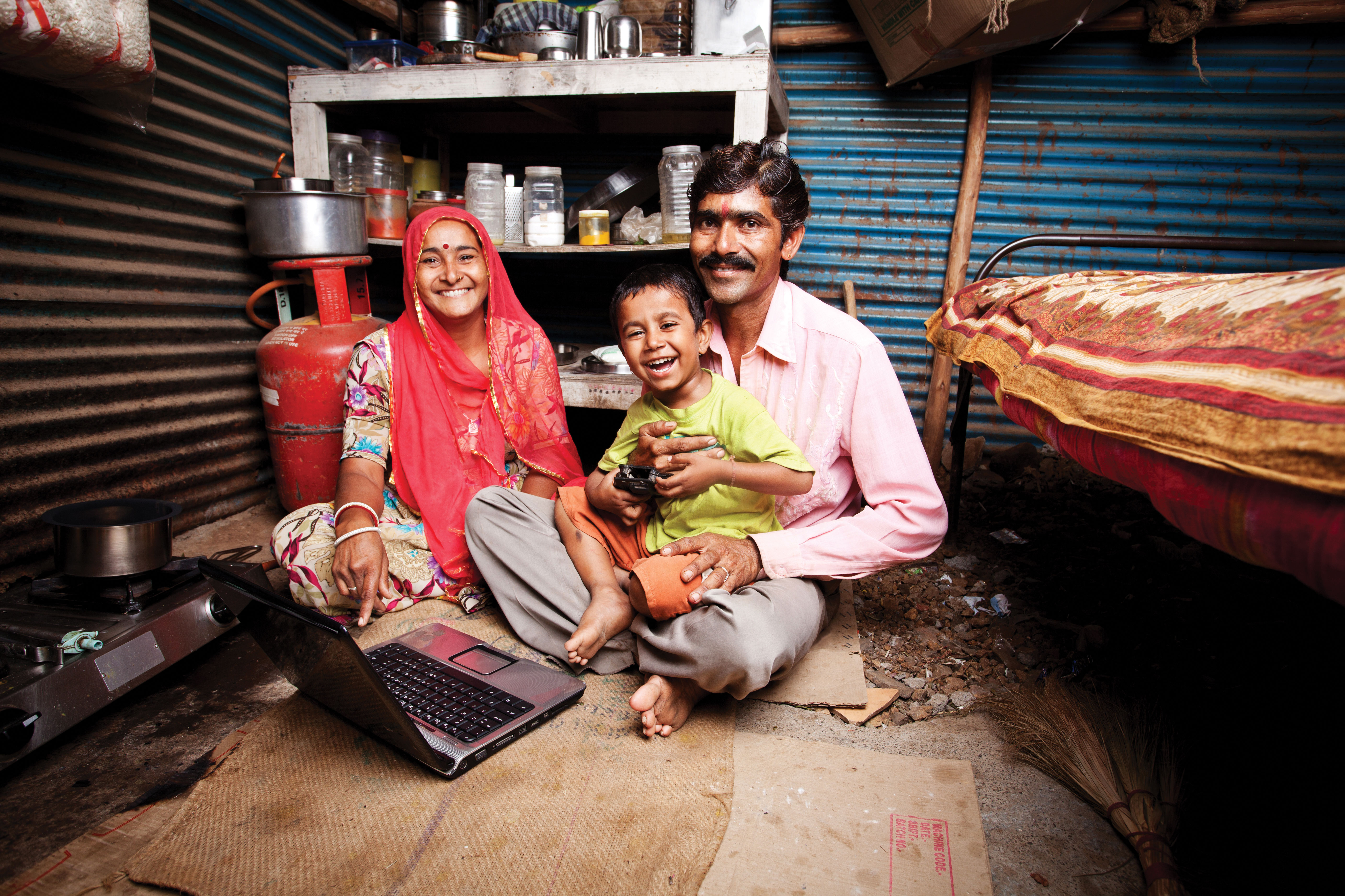 Indian family in home